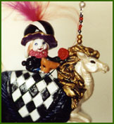 Masquerade bunny on horseback with removable mask. Polymer clay necklace or figurine