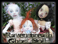 Spooky and loveable Ravensbreath Ghost Dolls by Leigh. They will haunt you forever.