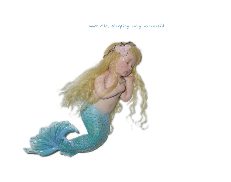 Merielle baby mermaid of polymer clay.