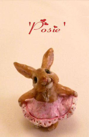 Posie Bunny handmade miniature clay rabbit