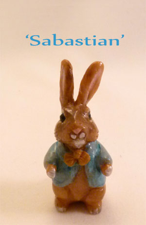 Sabastian Bunny handmade miniature clay rabbit