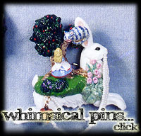 Whimsical pins, from cats to Alice in Wonderland by Leigh